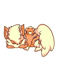 Fluffy chibis:  Growlithe and Arcanine by The-Earth-Mistress