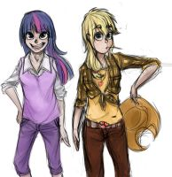 Twilight n' Applejack Humanised by shirl-ame