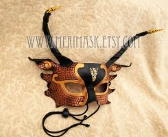 Copper Black Gold Half Dragon Mask by merimask