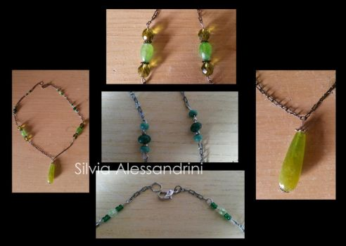 Green drop necklace by SilvieTepes