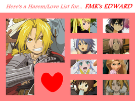 Harem/Love List/Chart - FMK's Edward Elric by 4xEyes1987