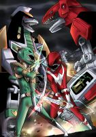 Green Ranger VS Red Ranger by SirBetito