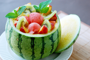 Water melon YUM fruit bowl by kathiiscribz