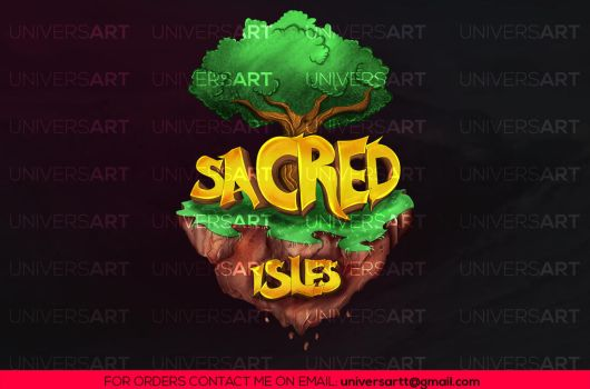 Minecraft Server Logo:  Sacred Isles by UniversArtt