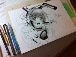 Unfinished drawing of some anime girl by Woolulu