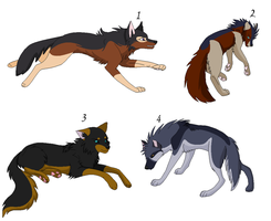 Wolf Adoptables 2 (Prices lowered) by Likuwolf