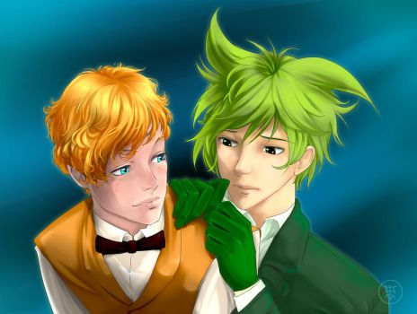 Newt and Bowtruckle  humanization by volkradugi