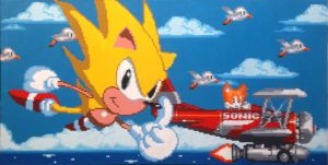 Super Sonic and Tails Take Flight by Squarepainter
