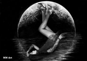 In The Moon Graphite pencil by MM-ARTDrawing