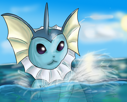 Vaporeon in water by Cinnamon-Quails