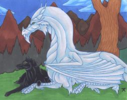 Dragon and wolf couple by Skychaser