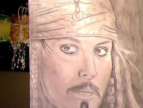 Jack Sparrow Realistic Drawing by kennethkangaroo