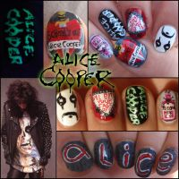 Alice cooper nail art by Ninails