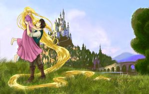 Rapunzel and Eugene by Dralamy