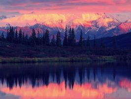 Landscapes Wonder Lake Alaska Range Sunset Denali  by Boomagoo