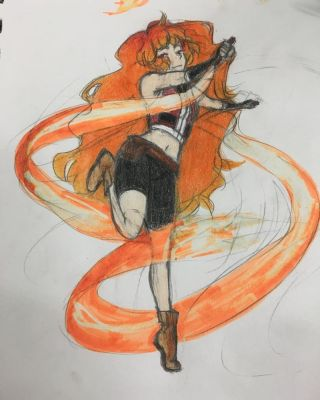 Embrey + Her fire ribbons by Glitchion