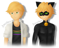 Miraculous Ladybug: Adrien Agreste and Cat Noir by Angi-Shy