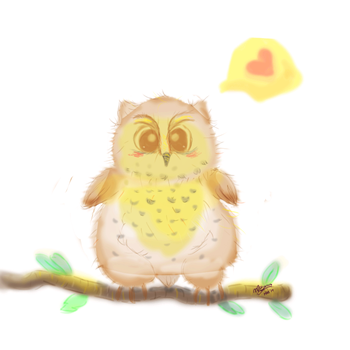 Fluffy Baby Owl by Mishberries
