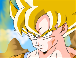 goku about to fight android 19 by coycoy