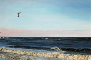 Kite Surfer in Garryvoe, November 2011 by eastcorkpainter