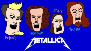 Metallica Lineup Faces Cartoon Doodle by EspioArtwork