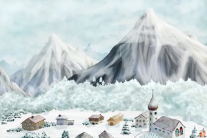 Snowy Village by Erleuchtete
