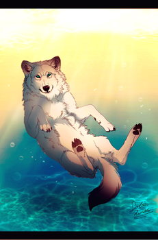Water wolf by TheMysticWolf