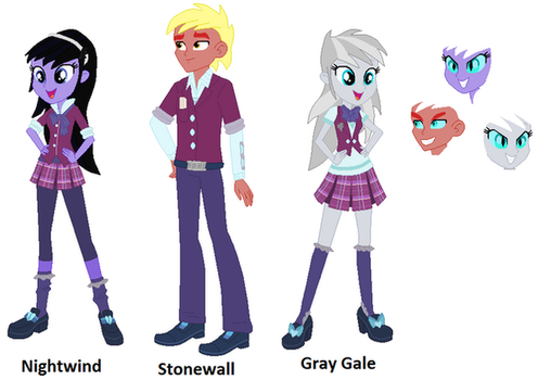 MLP EQG - Nightwind, Stonewall and Gray Gale by Negaboss2000