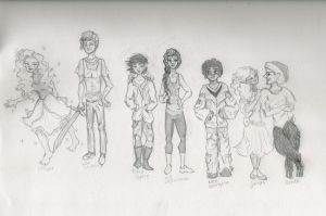 Percy Jackson character lineup by BehindtheBlueWindow