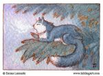 ACEO: Cat in a winter tree by emla