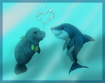 A Manatee And A Shark by HydraCarina