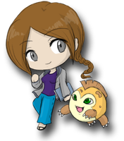 DW: Emily and Rideremon Chibis by SilverHyena