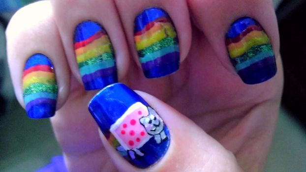 Nyan Cat Nails by wolfgirl4716