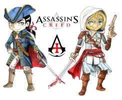 Haytham and Edward Kenway Father and Son by BlueAquarelle