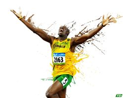 Usain Bolt Paint Splatter Wallpaper by timdallinger