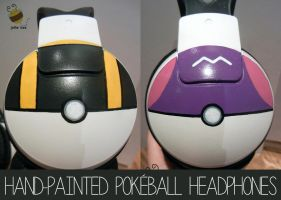 Premade Pokeball Headphones! by ditto9