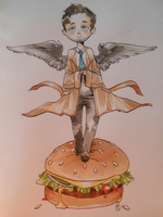 castiel, lord of the burger by alpacasovereign
