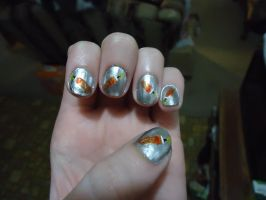 Gokudera Inspired Nail Art-Left by pockyXbandit