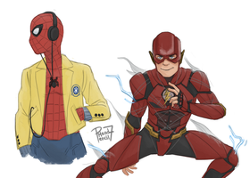 Spider-man and Flash Sketch by pencilHead7