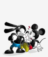 Oswald and Mickey by Pinchii
