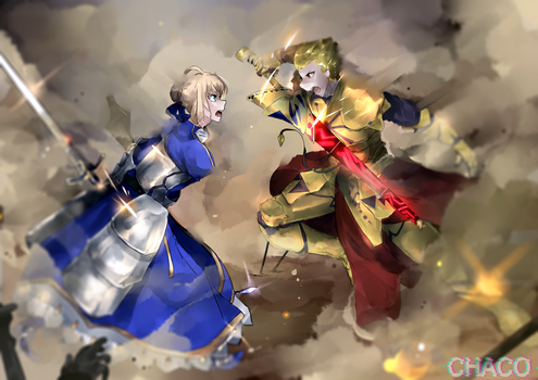 Arthuria VS Gilgamesh by 9Maple