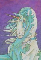 Blue Unicorn ACEO by SpottedPegasus