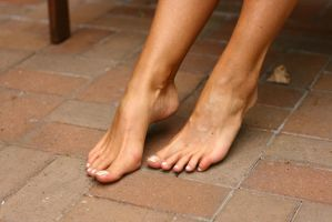 Janina took off her shoes showing her toes by foot-portrait