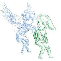 Chibis Link and Pit -Super Smash Bros by SelenaLynne