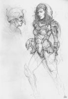Lady Armour Sketch by AaronGriffinArt