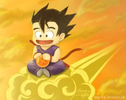Goku and Grandpa, on the Nimbus by Omega-Sigh
