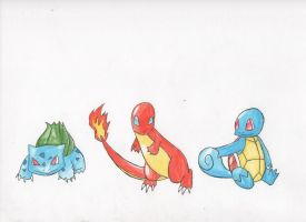 Kanto Starters by Dawnisrising
