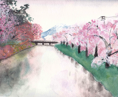 Blossoms by the River by maybelletea
