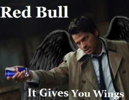 Castiel Drinks RedBull by Blissful-DeathTrap