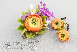 Jewelry set with orange buttercups and lilacs by polyflowers